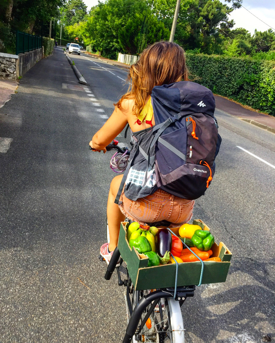 retour du marché en vélo